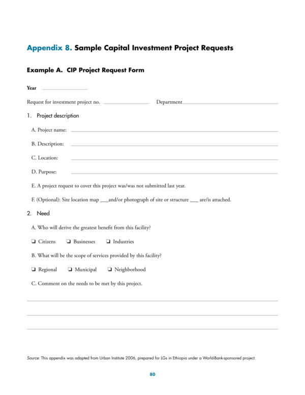 sample capital investment project request template 1