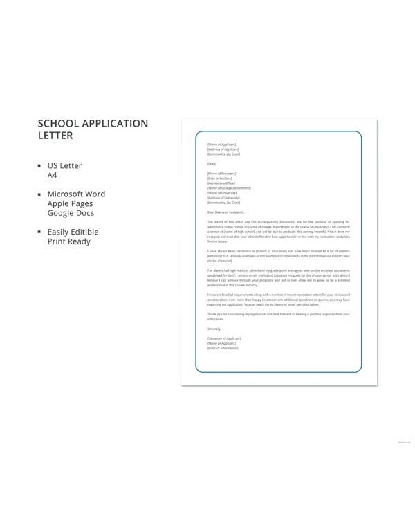 school application letter template