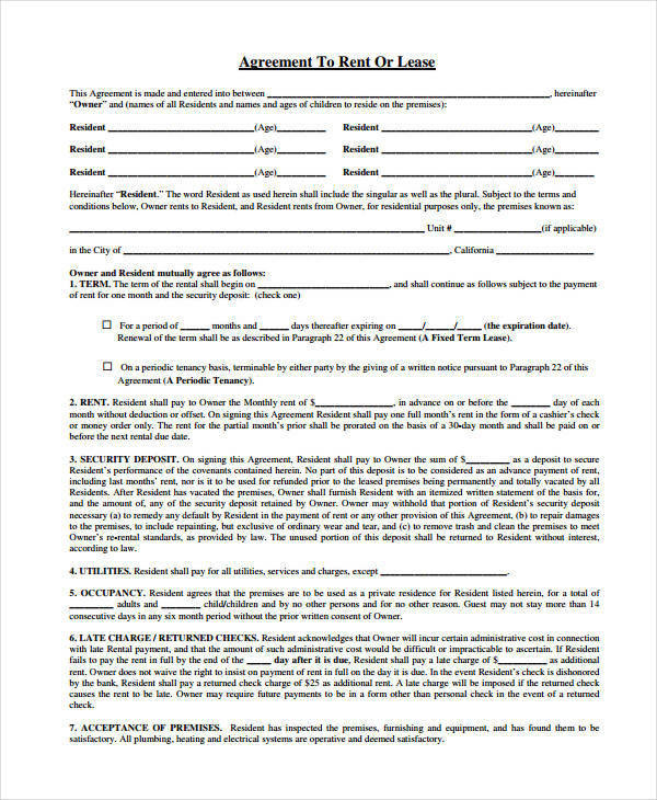 agreement to rent or lease form