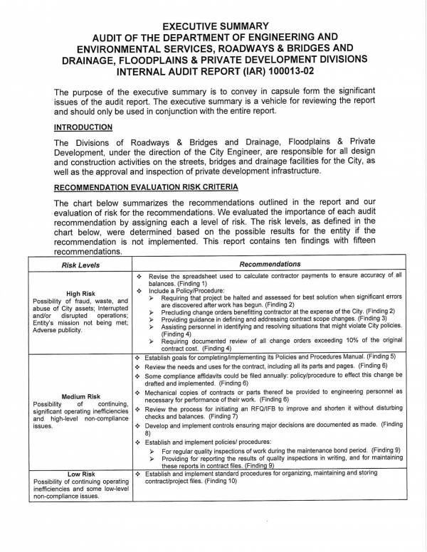 audit report of the department of engineering and environmental services 03