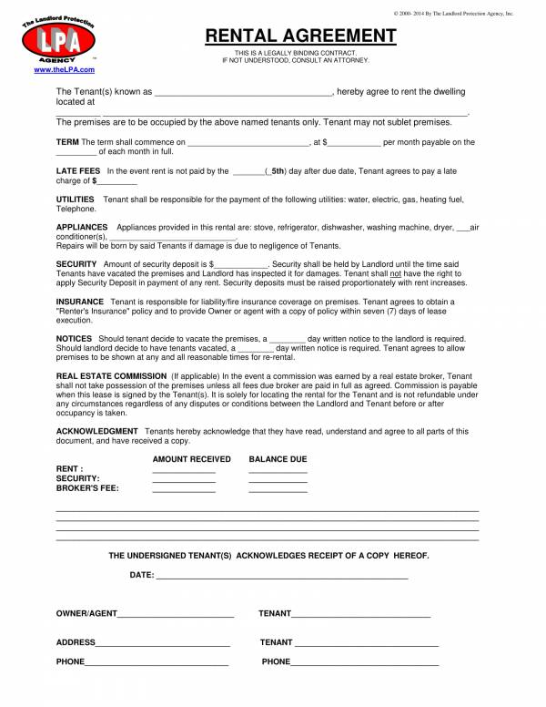 basic rental agreement format 1