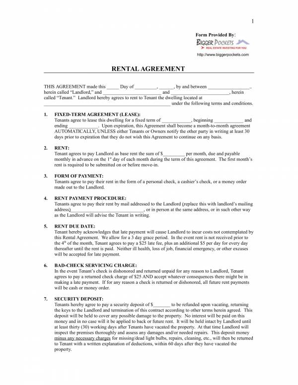 blank rental agreement format 1
