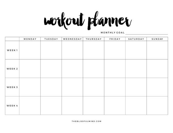 blank workout planner template 1