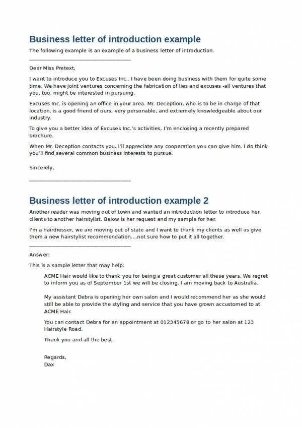 business letter of introduction example