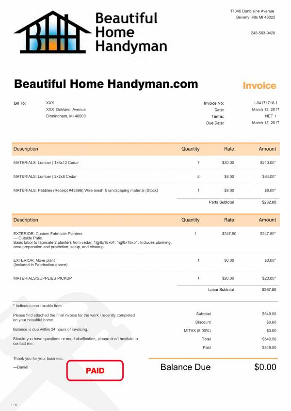 commercial handyman invoice sample 1