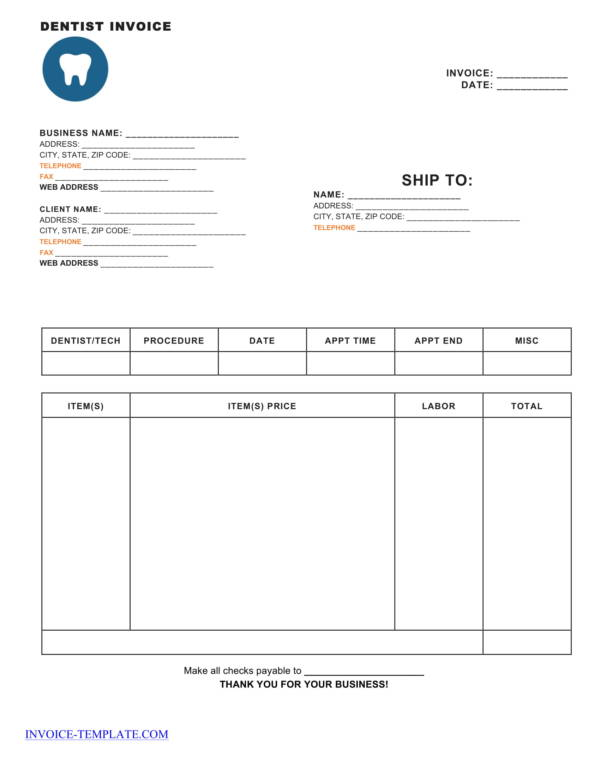dental invoice template 1