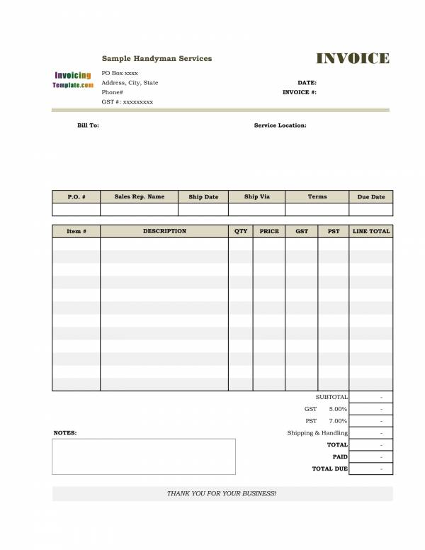 detailed handyman invoice template 2