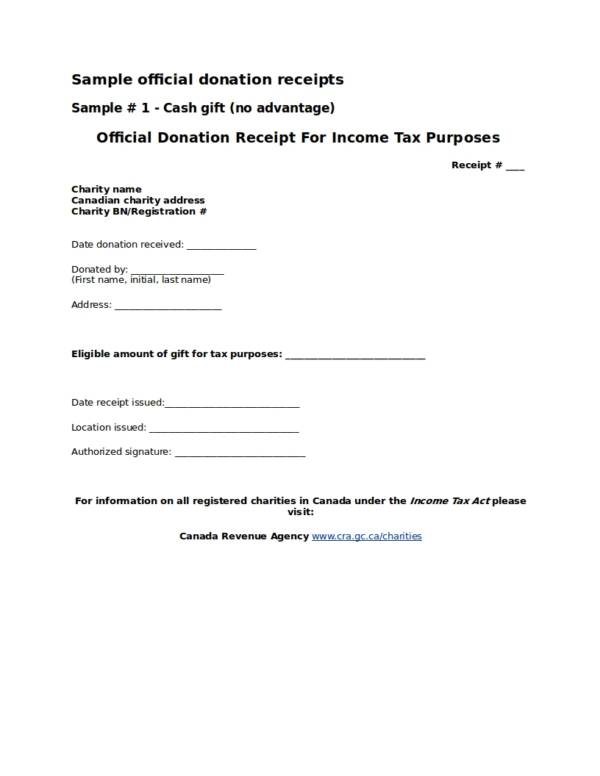 Donation Gift Receipt Template
