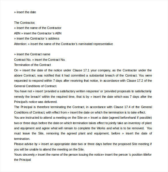 editable contract termination letter