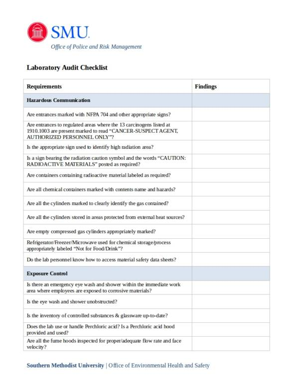 editable laboratory safety audit report