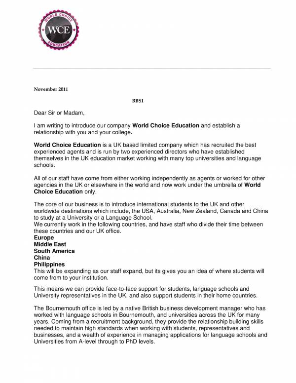 education company introduction letter sample 1