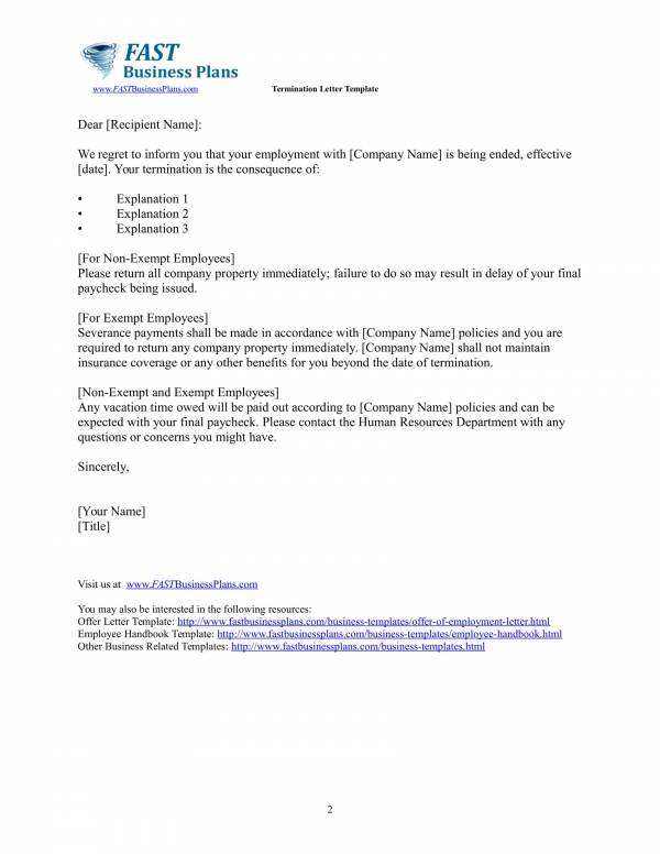 employee contract termination letter template 2