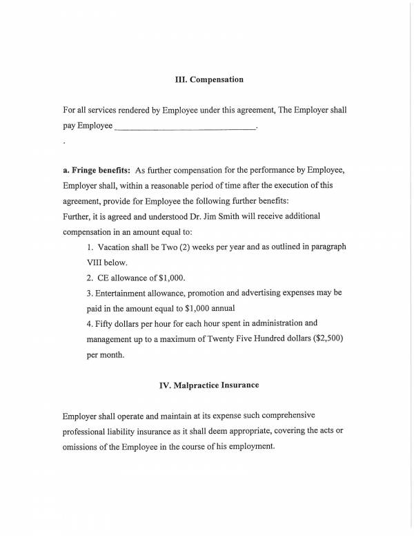 employment compensation agreement template 3