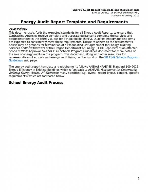 energy audit report template and requirements