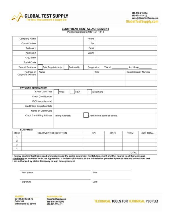 equipment rental agreement form 1
