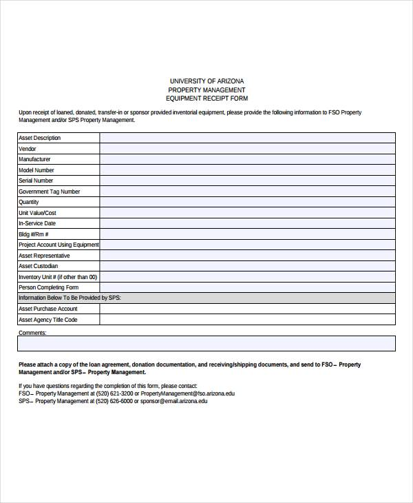 equipment transfer receipt template