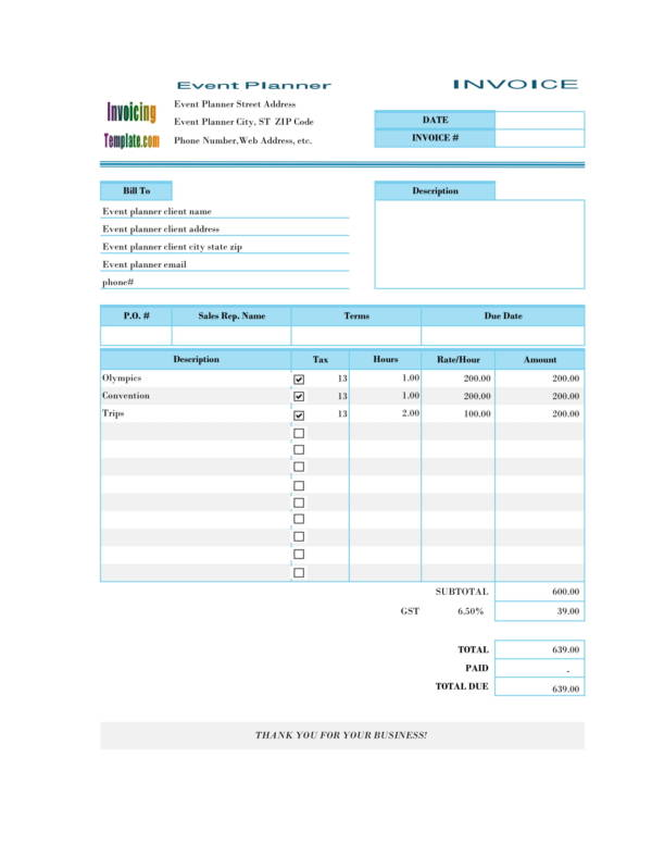 event planning invoice template 2