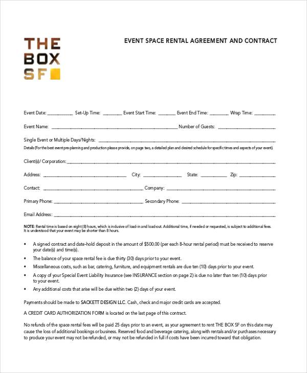 event room rental agreement template
