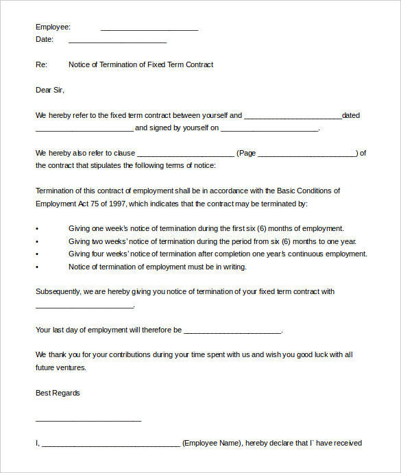 fixed term contract termination letter template