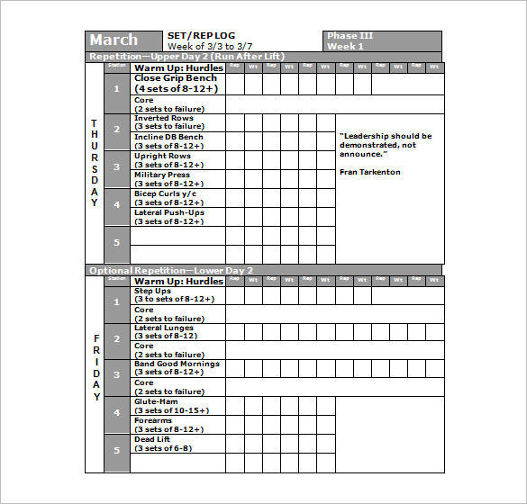 football workout planner sample template