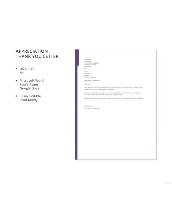 free appreciation thank you letter template