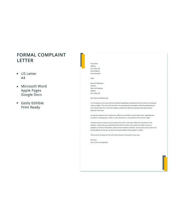 9 sample formal complaint letters pdf word apple pages google free formal complaint letter template spiritdancerdesigns Images