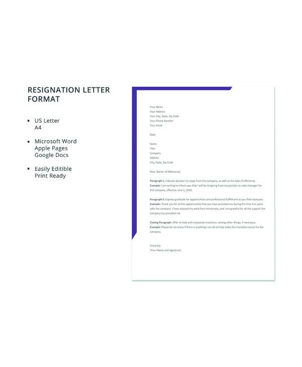 17+ Letter of Resignation Samples - PDF, Word, Apple Pages