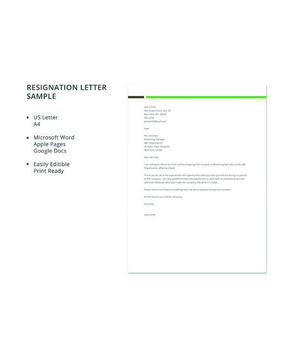 17 letter of resignation samples pdf word apple pages google free sample resignation letter details file format microsoft word spiritdancerdesigns Gallery