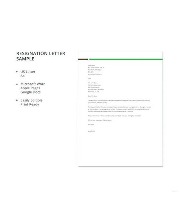 12+ Simple Resignation Letters - PDF, Word, Apple Pages ...