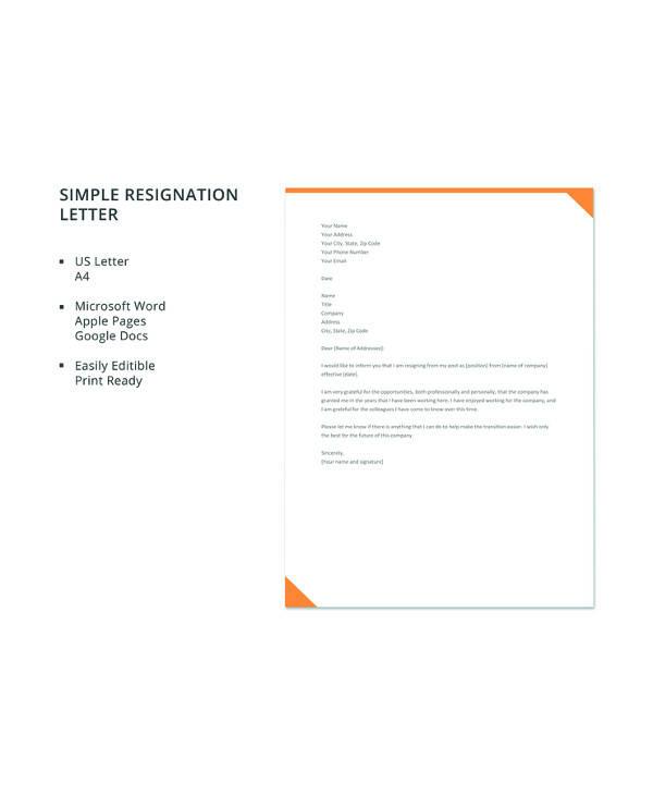 free simple resignation letter