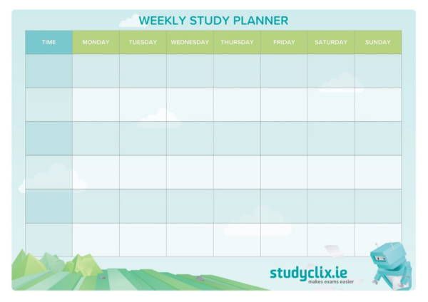 free weekly study planner template 1