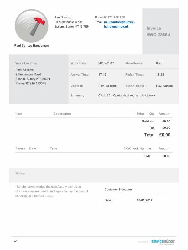 Generic Handyman Invoice Template