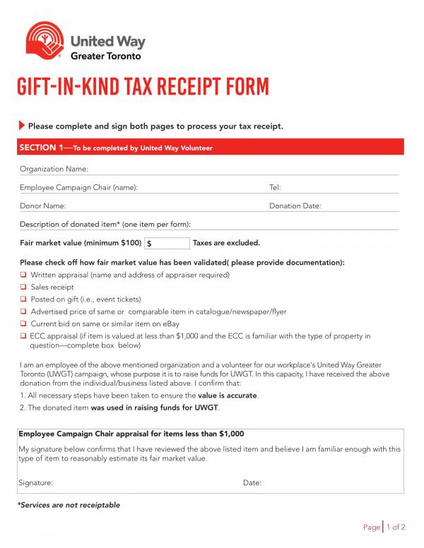 gift in kind tax receipt form 1