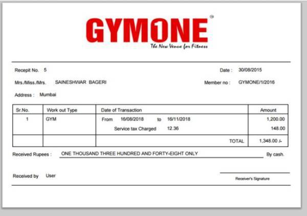 free 12  gym membership receipt samples  u0026 templates in pdf