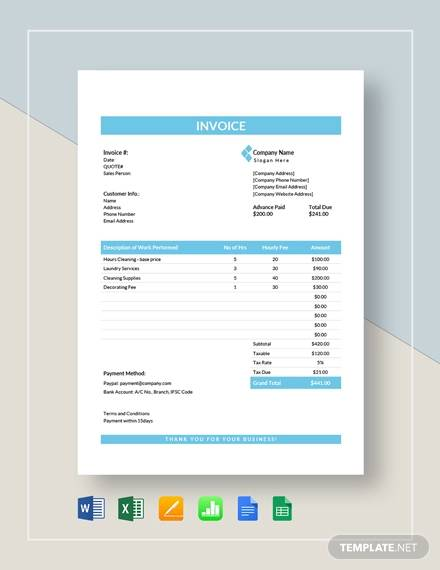 FREE 12+ Handyman Invoice Templates in PDF | Word | Excel