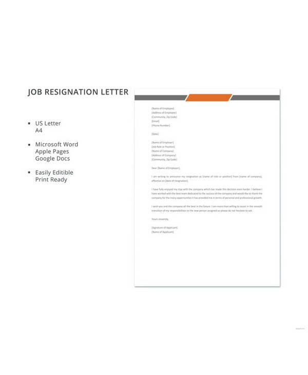 FREE 11+ Simple Resignation Letter Templates In PDF