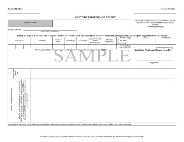 negotiable warehouse goods receipt sample template 1