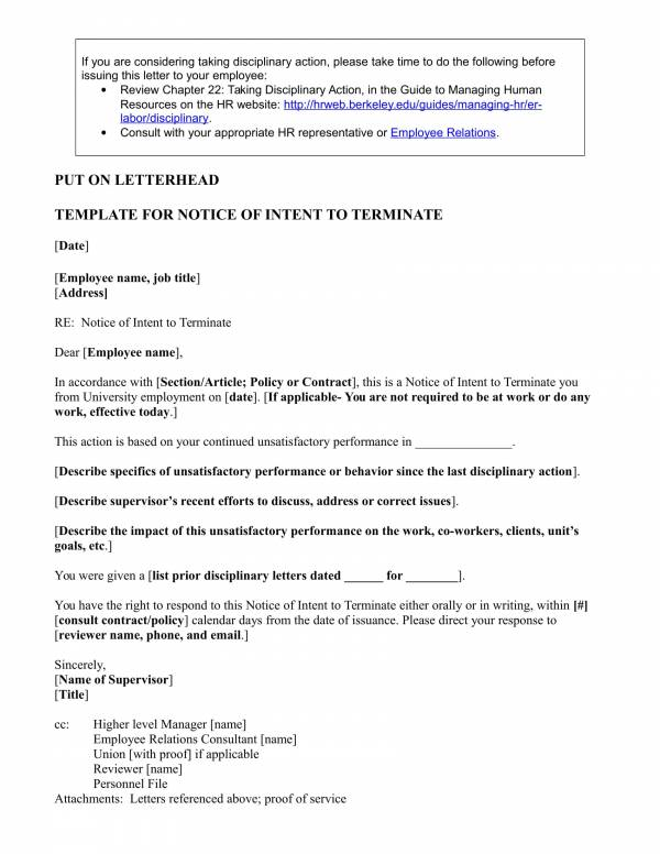 notice of intent to terminate policy or contract 1