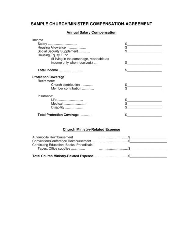 pastor compensation agreement template 1