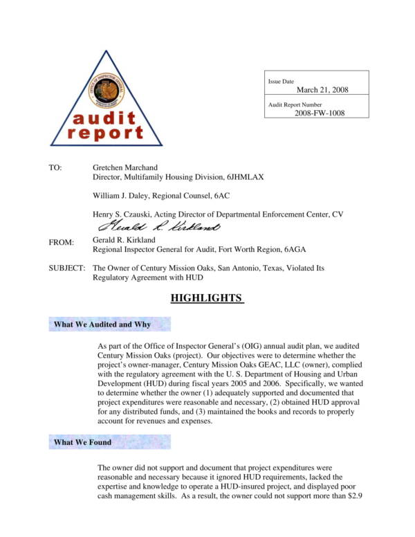 printable financial audit report sample 01