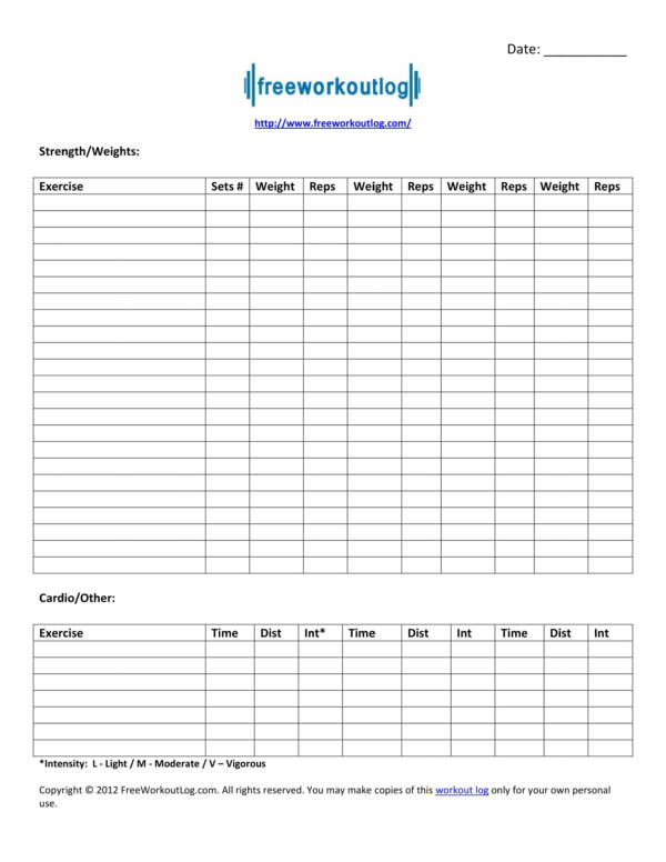 picture regarding Printable Workout Planner named Absolutely free 11+ Work out Planner Template inside of PDF Phrase