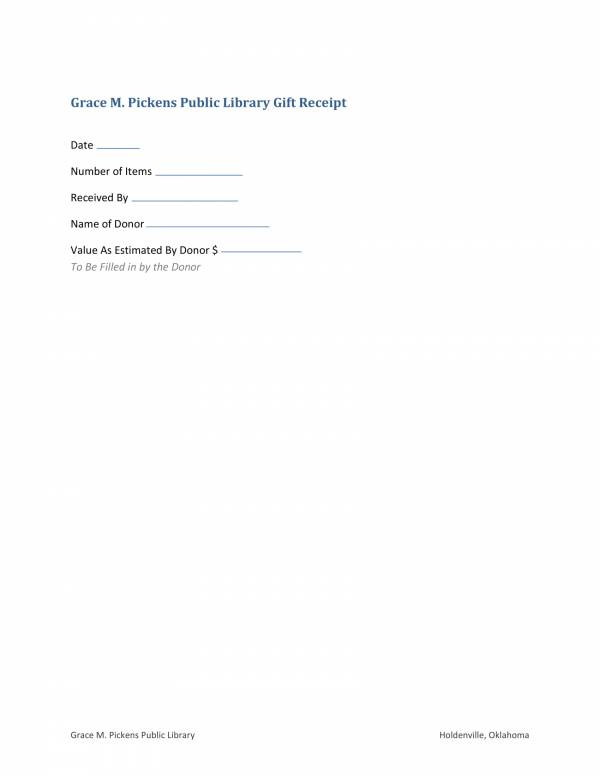 public library gift receipt template 1