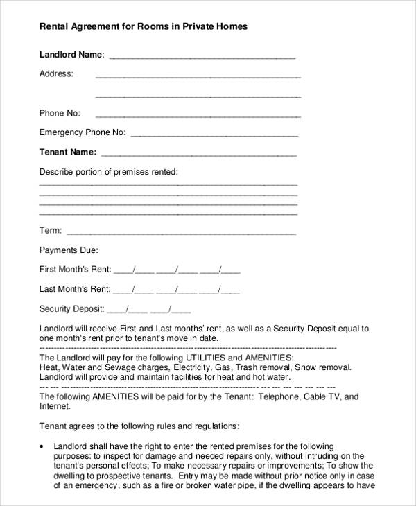 Monthly Room Rental: FREE 11+ Sample Room Rental Agreement Templates In PDF