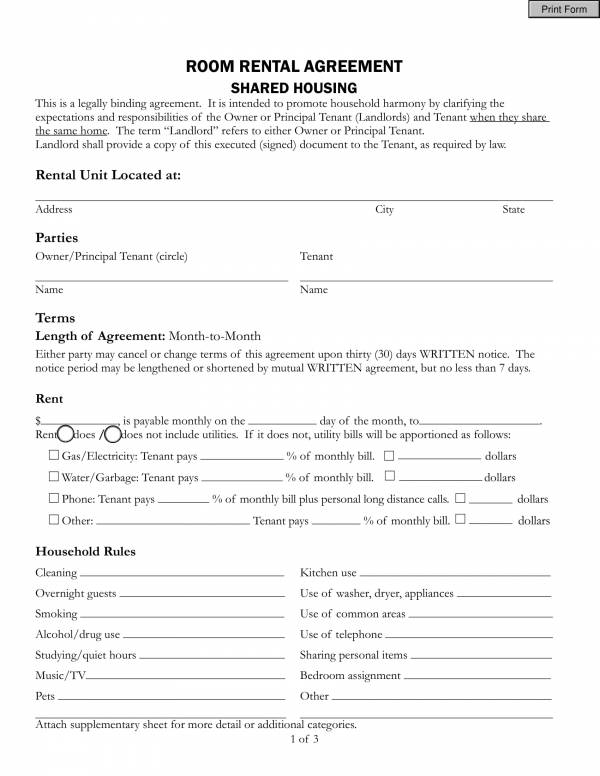 room rental agreement for shared room 1