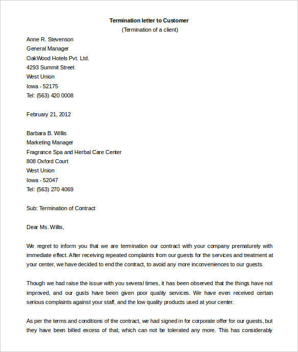 sample contract termination letter to customer
