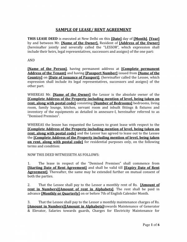 sample individual rent agreement format 1