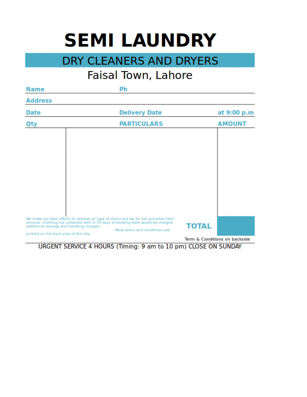 sample laundry receipt template for laundry shops