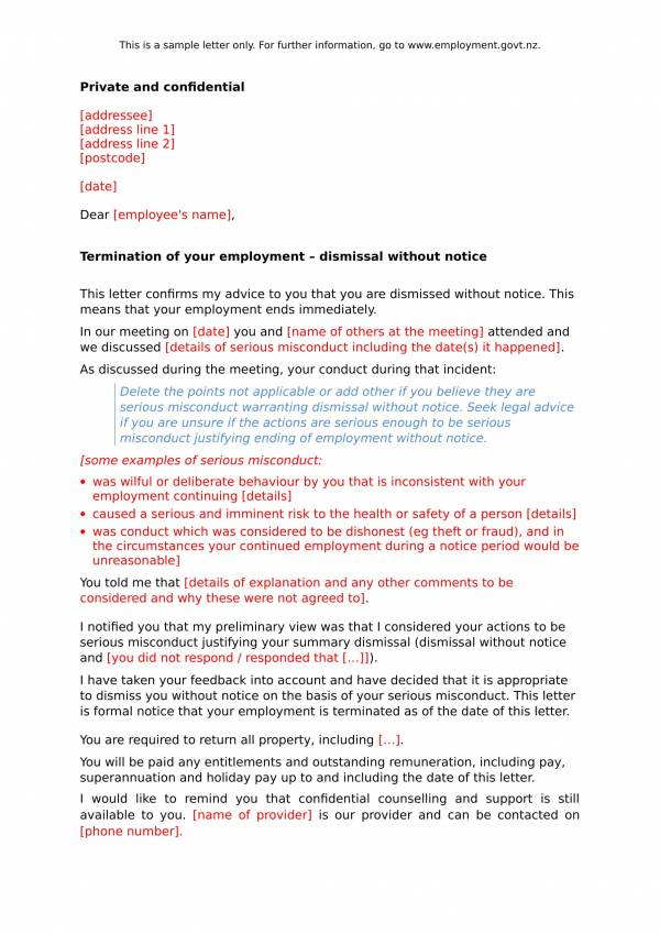 sample letter for termination of employment contract 1