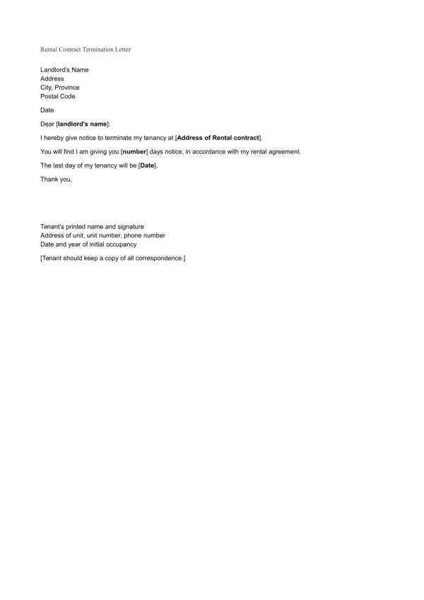 sample rental contract termination letter 1