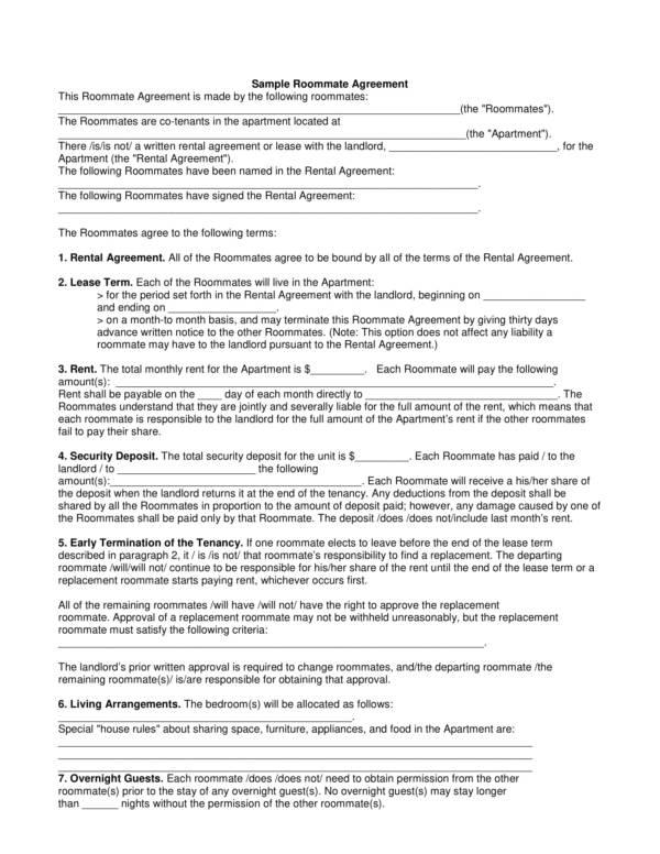 sample roommate agreement 1